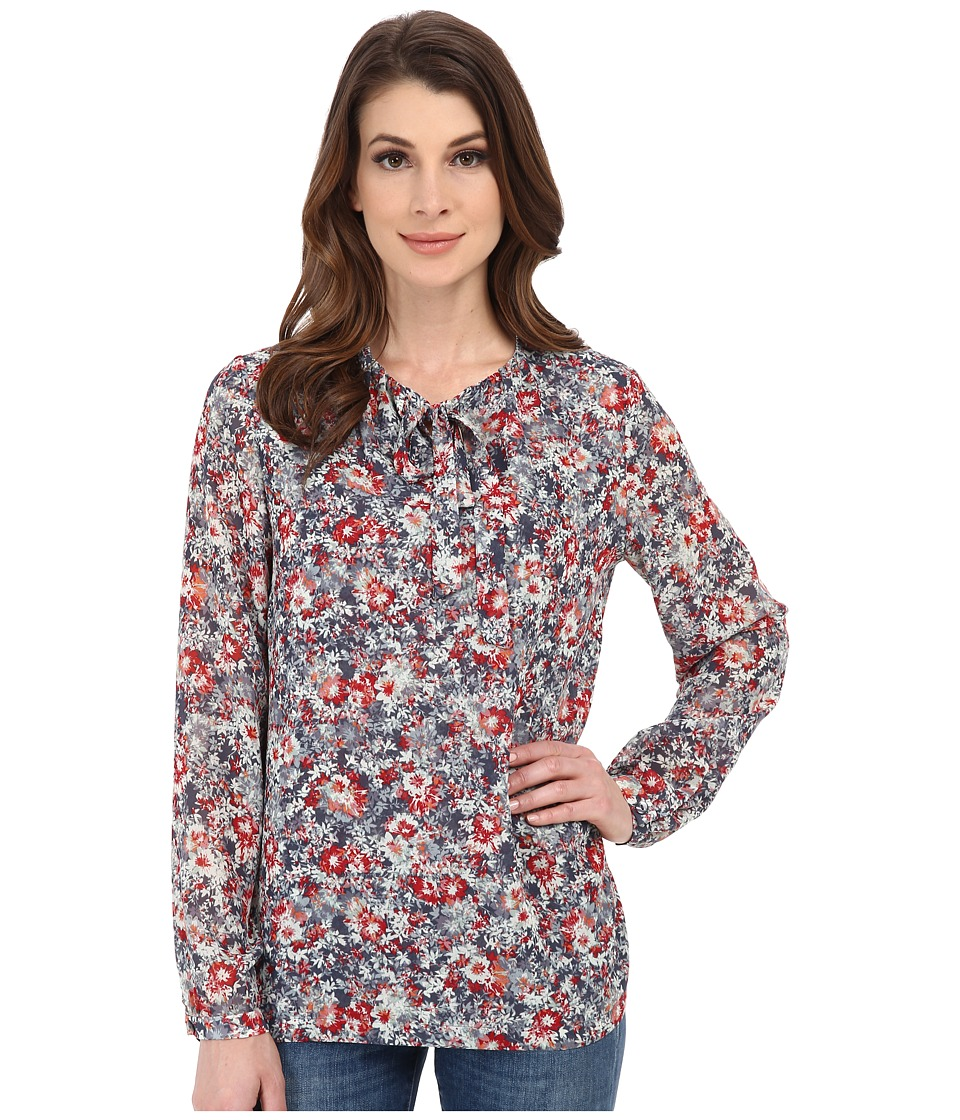 Pendleton - Long Sleeve Tie Blouse (Multi Floral Print) Women's Blouse