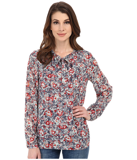 Pendleton - Long Sleeve Tie Blouse (Multi Floral Print) Women