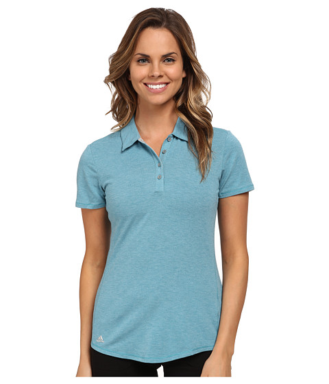 adidas Golf - Essentials Heather Short Sleeve Polo (Lake Blue Heather) Women's Short Sleeve Knit