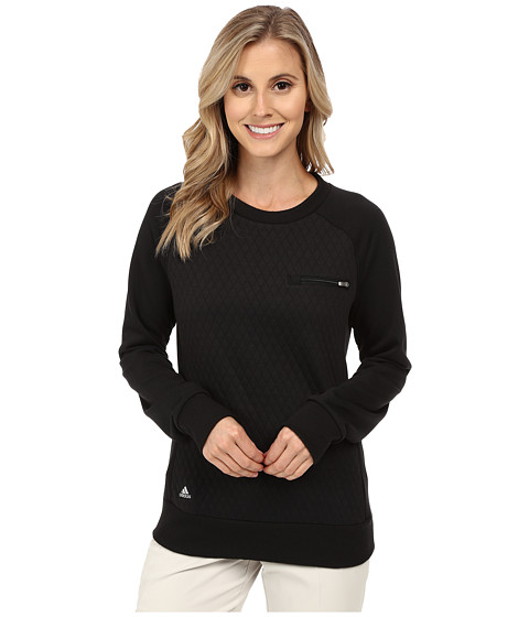 adidas Golf - Essentials Quilted Crew (Black) Women's Long Sleeve Pullover