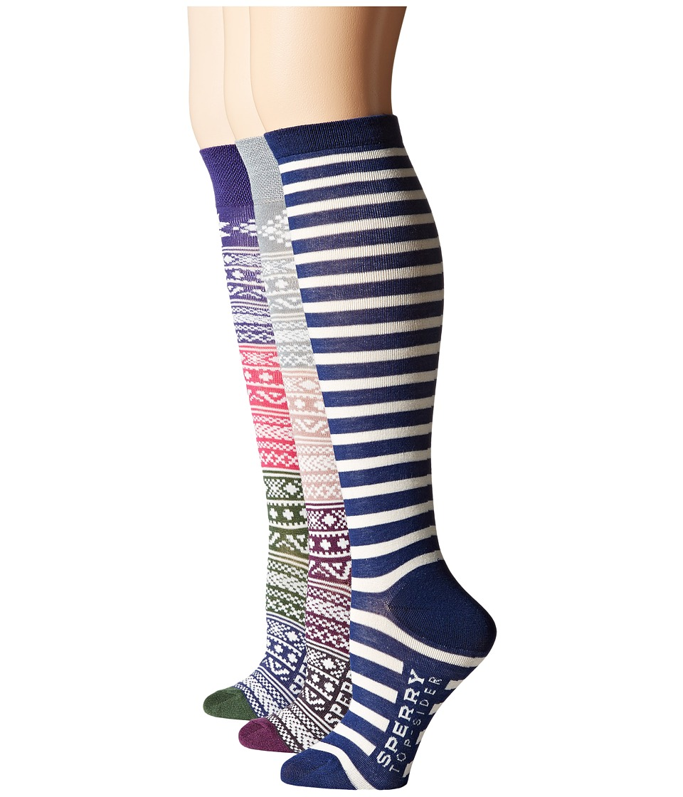Sperry - Fair Isle Knee High 3-Pack Giftable (Twilight Blue) Women's Knee High Socks Shoes