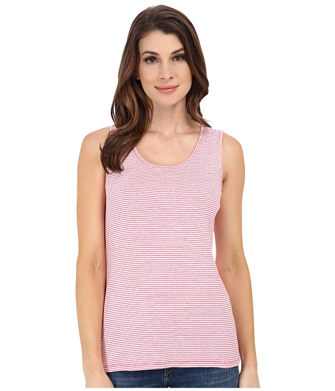Pendleton - Stripe Rib Tank Top (White/Cherry Pink Mini Stripe) Women's Sleeveless