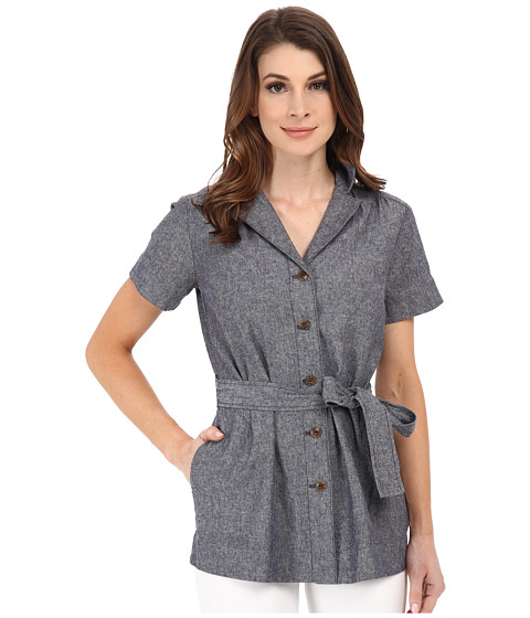 Pendleton - Short Sleeve Belted Jacket (Indigo Weave) Women's Coat