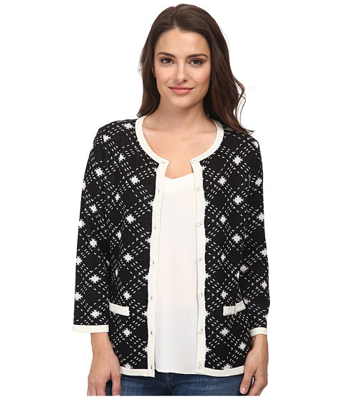 Pendleton - Bias Plaid Cardigan (Black/Ivory) Women's Sweater