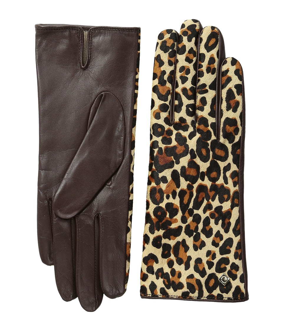 Cole Haan - Haircalf Back Leather Glove (Mahogany/Leopard Printed Haircalf) Extreme Cold Weather Gloves
