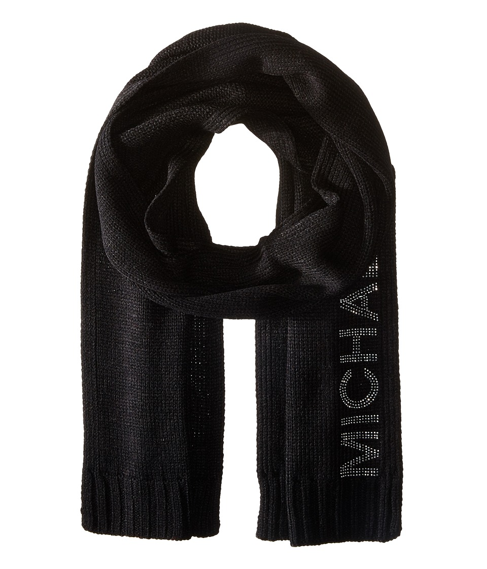 MICHAEL Michael Kors - Heat Seal Studded Logo Scarf (Black/Polished Nickel) Scarves