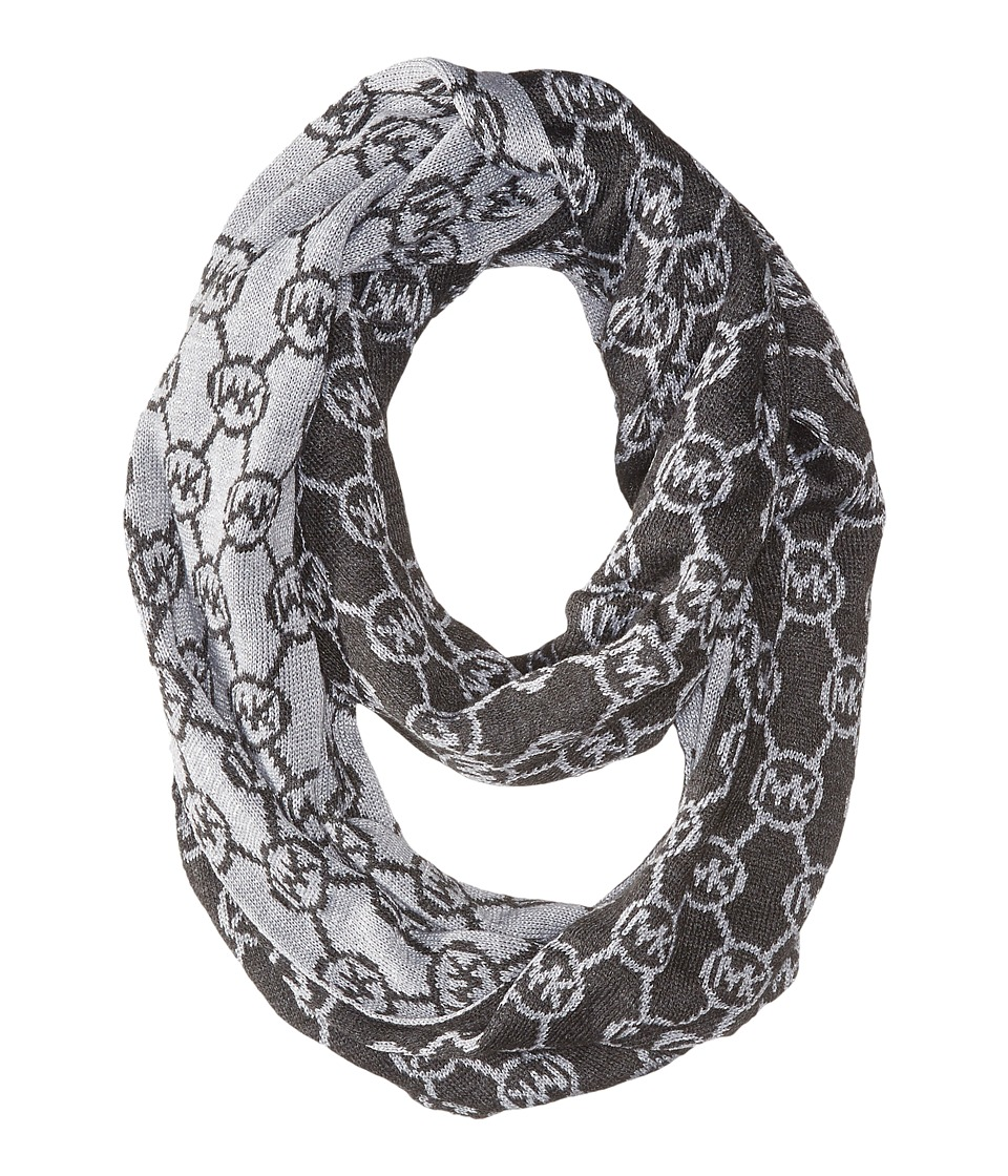 MICHAEL Michael Kors - Jet Set Logo with Lurex Small Infinity Scarf (Derby/Pearl Heather Grey/Silver) Scarves