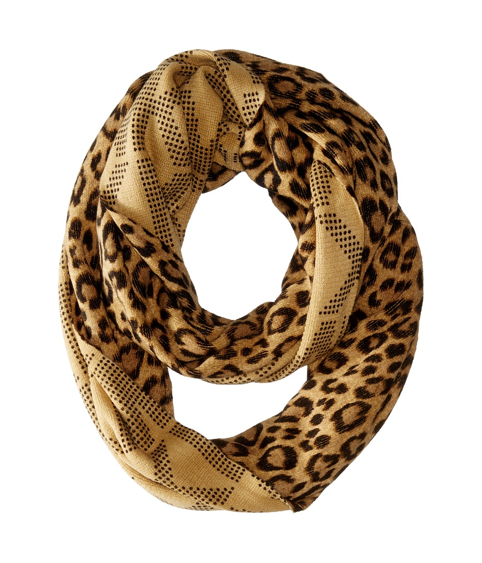 MICHAEL Michael Kors - Double Printed Raschel Reversible Large Infinity Scarf (Dark Camel Combo) Scarves