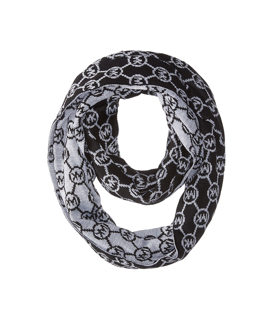 MICHAEL Michael Kors - Jet Set Logo with Lurex Small Infinity Scarf (Black/Pearl Heather Grey/Silver) Scarves