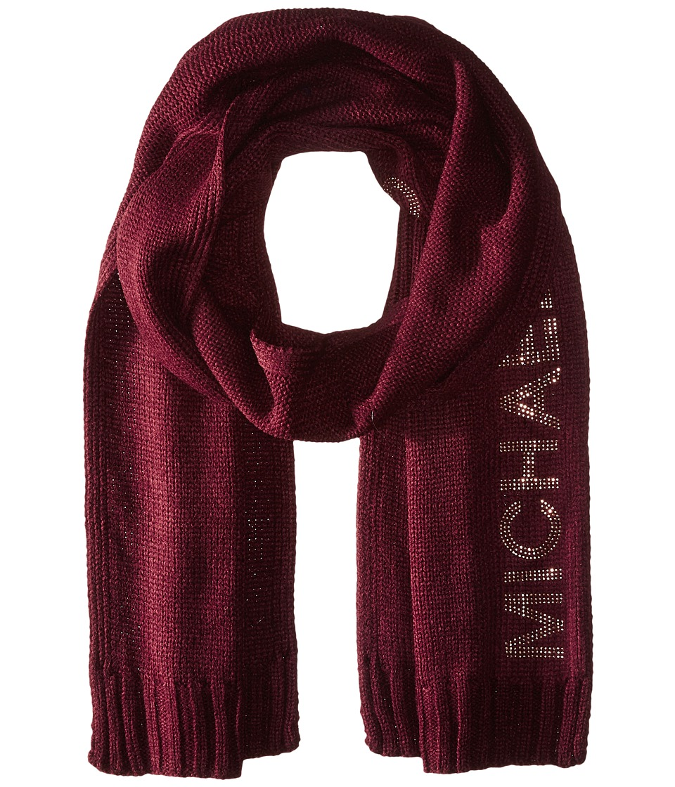 MICHAEL Michael Kors - Heat Seal Studded Logo Scarf (Merlot/Polished Gold) Scarves