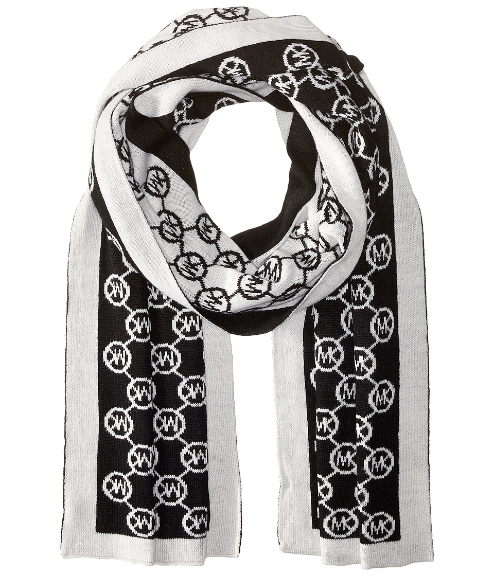 MICHAEL Michael Kors - Jet Set Logo Border Scarf (Black/Cream) Scarves
