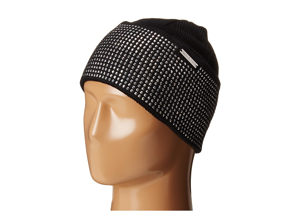 MICHAEL Michael Kors - Heat Seal Studded Cuff Hat (Black/Polished Nickel) Caps