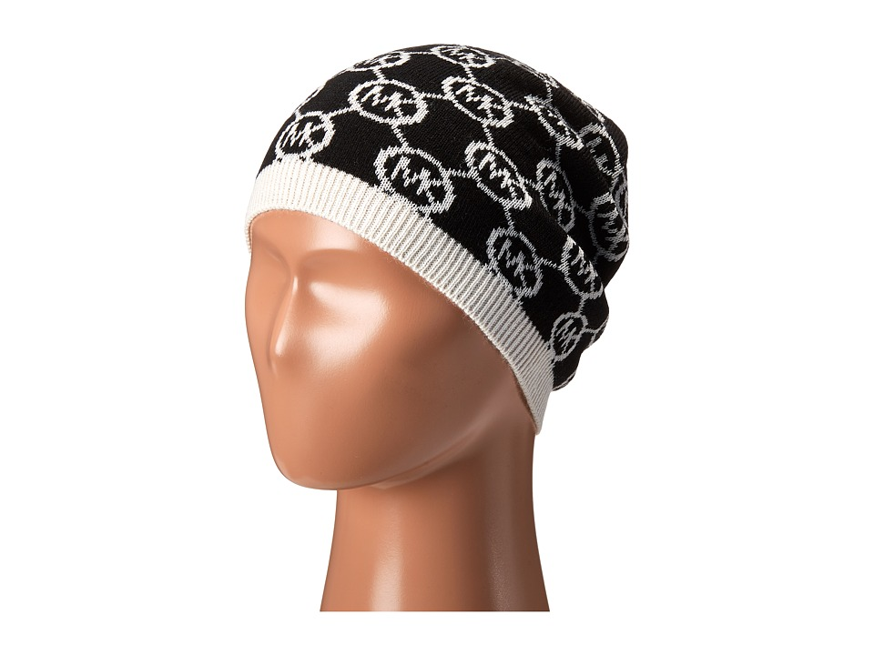 MICHAEL Michael Kors - Jet Set Logo Skull Cap (Black/Cream) Caps