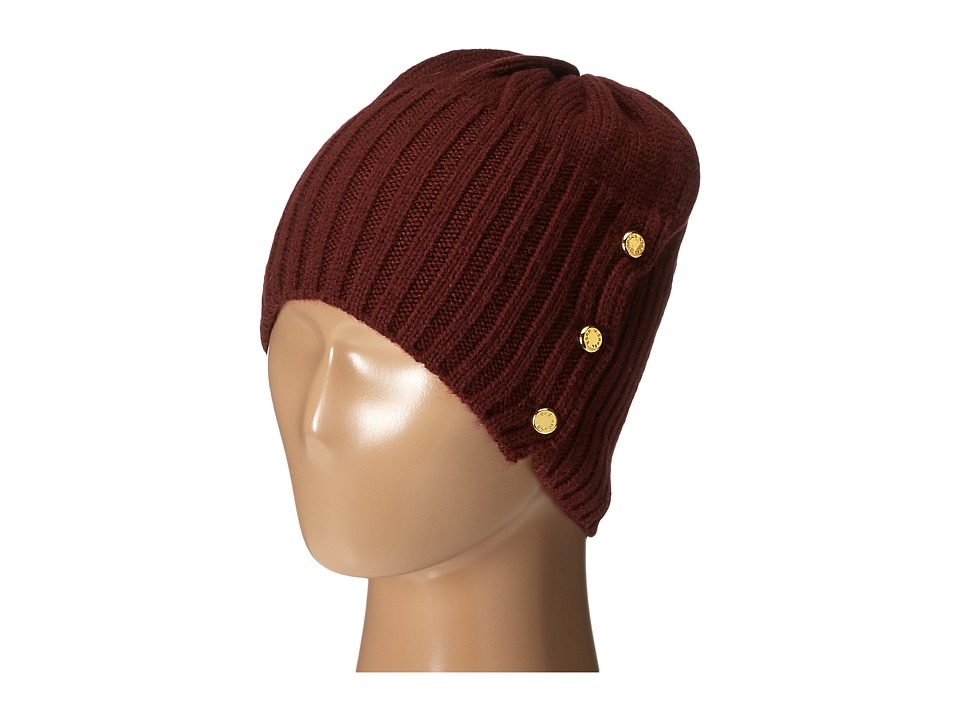 MICHAEL Michael Kors - Jersey Shallow Hat with Buttons (Merlot/Polished Gold) Caps