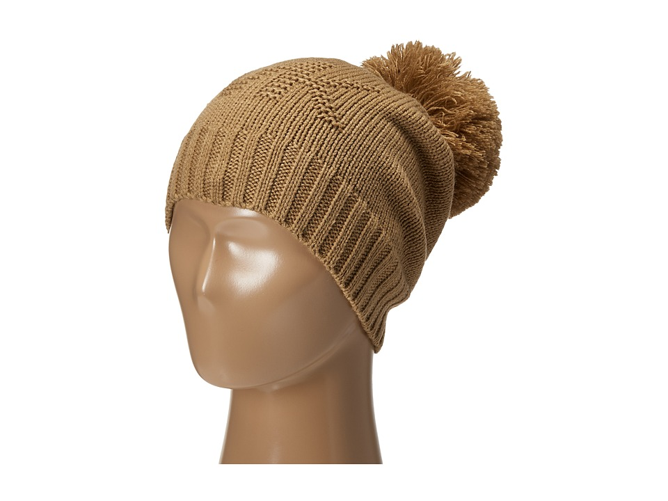 MICHAEL Michael Kors - Seed Stitch Hat with Self Knit Pom Pom (Dark Camel) Knit Hats