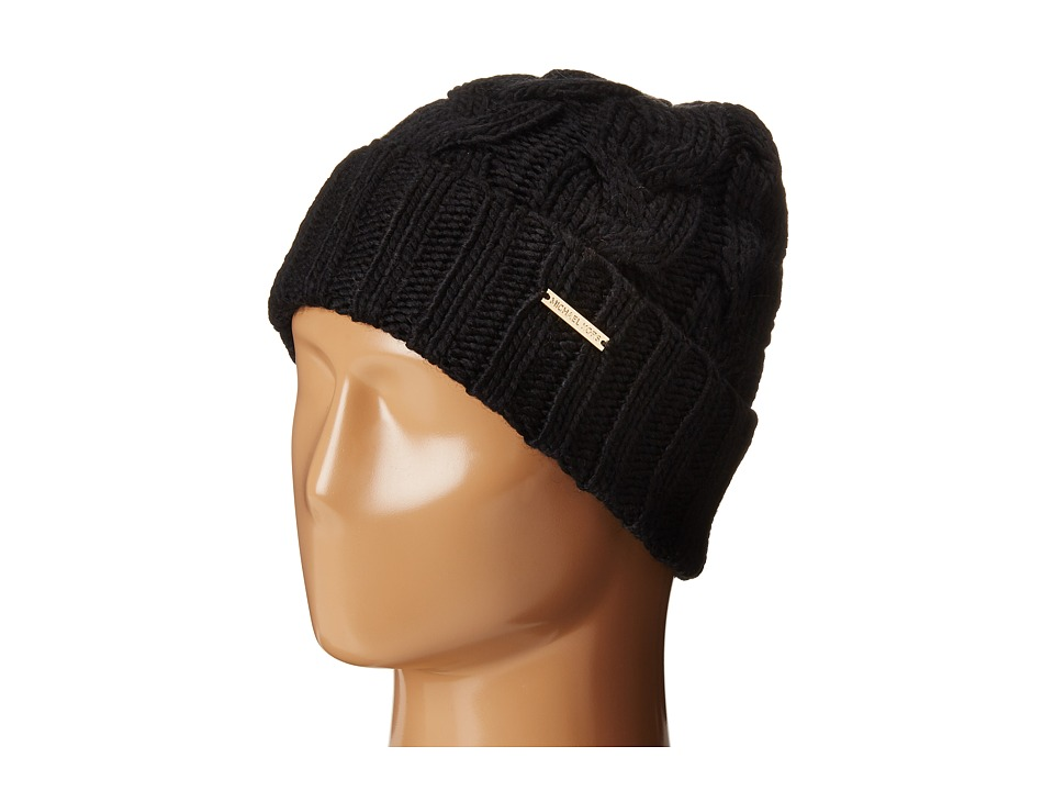 MICHAEL Michael Kors - Cable Knit Hat with Fold Up Cuff (Black) Knit Hats