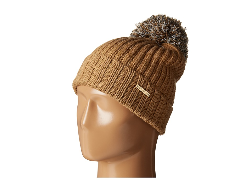 MICHAEL Michael Kors - Fisherman Rugby Cuff Hat with Self Knit Multicolor Pom Pom (Dark Camel/Cream/Derby) Knit Hats