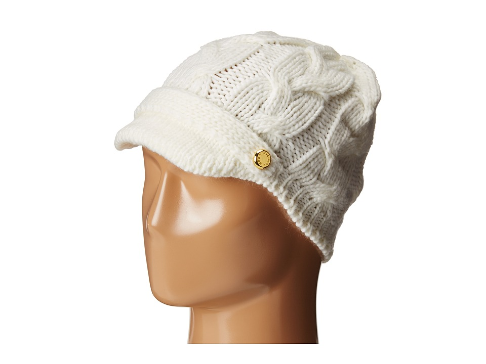 MICHAEL Michael Kors - Cable Knit Peak Hat with Knit Brim (Cream) Knit Hats