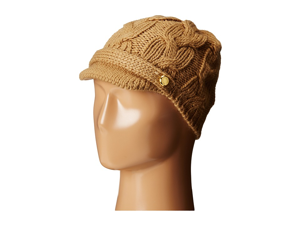 MICHAEL Michael Kors - Cable Knit Peak Hat with Knit Brim (Dark Camel) Knit Hats