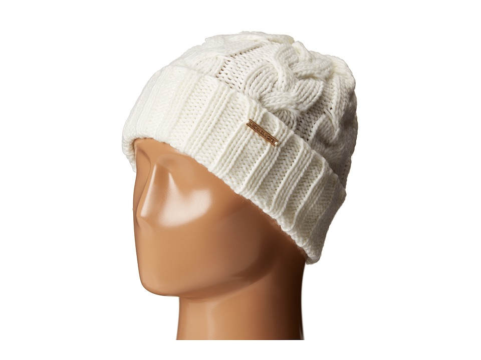 MICHAEL Michael Kors - Cable Knit Hat with Fold Up Cuff (Cream) Knit Hats