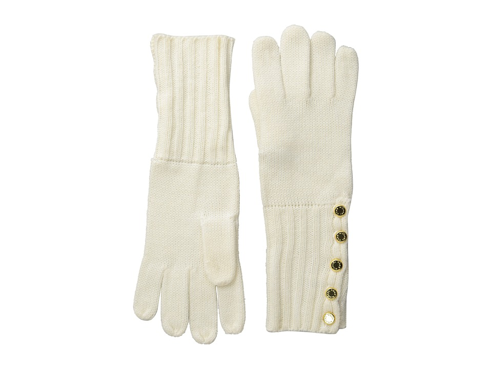 MICHAEL Michael Kors - Fisherman Stitch Button Glove (Cream/Polished Gold) Extreme Cold Weather Gloves