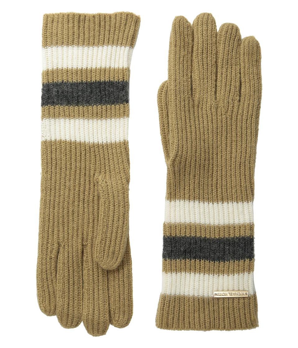 MICHAEL Michael Kors - Fisherman Rugby Multicolor Long Gloves (Dark Camel/Cream/Derby) Extreme Cold Weather Gloves