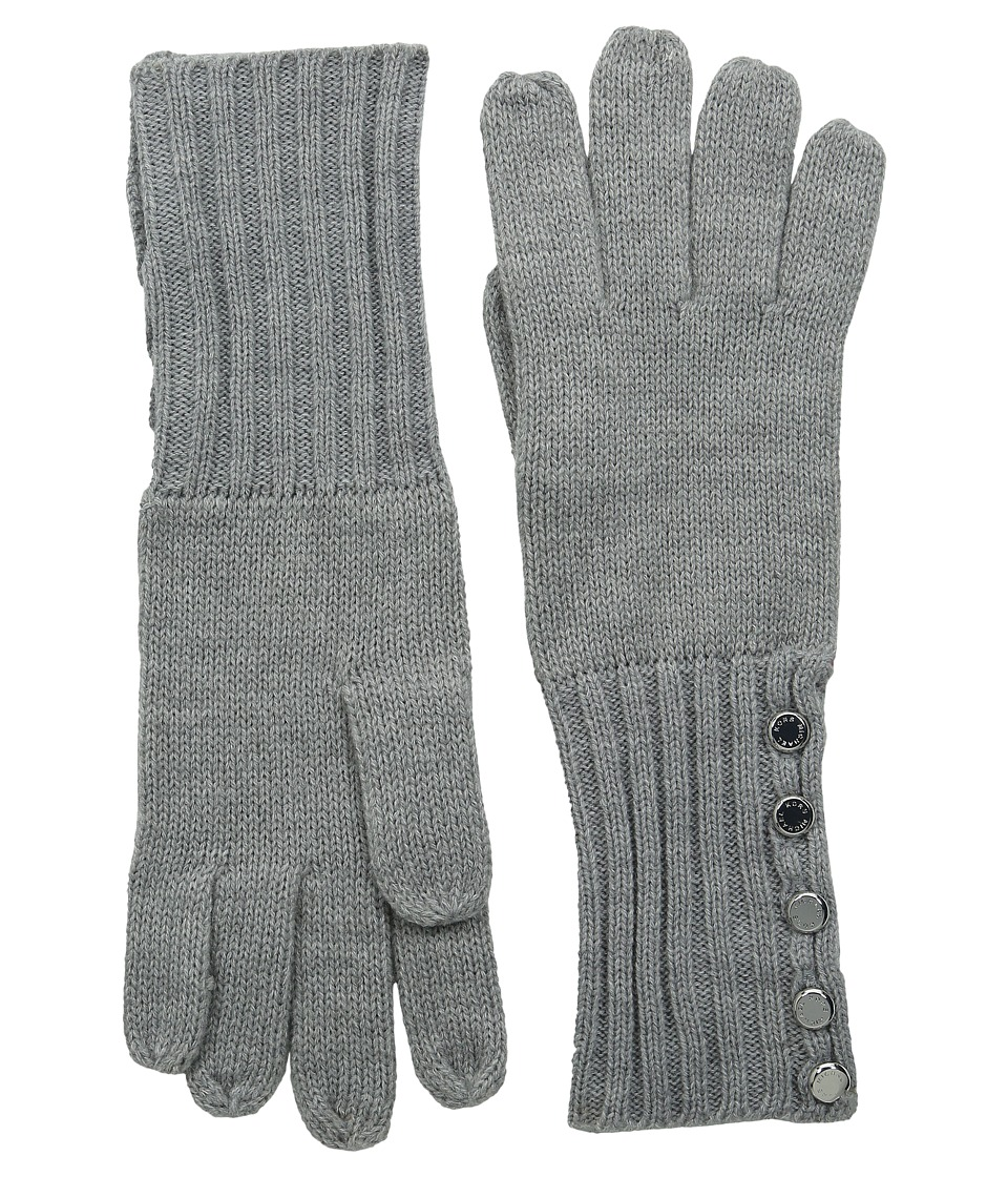 MICHAEL Michael Kors - Fisherman Stitch Button Glove (Pearl Heather Grey/Polished Nickel) Extreme Cold Weather Gloves