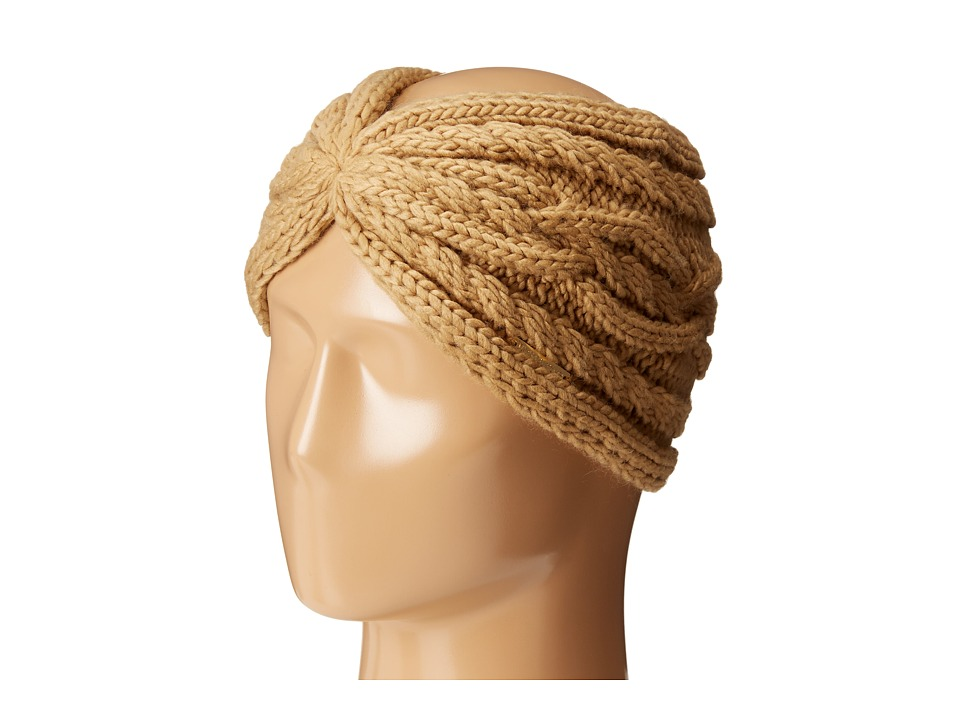 MICHAEL Michael Kors - Cable Knit Jersey Twisted Headband (Dark Camel) Headband