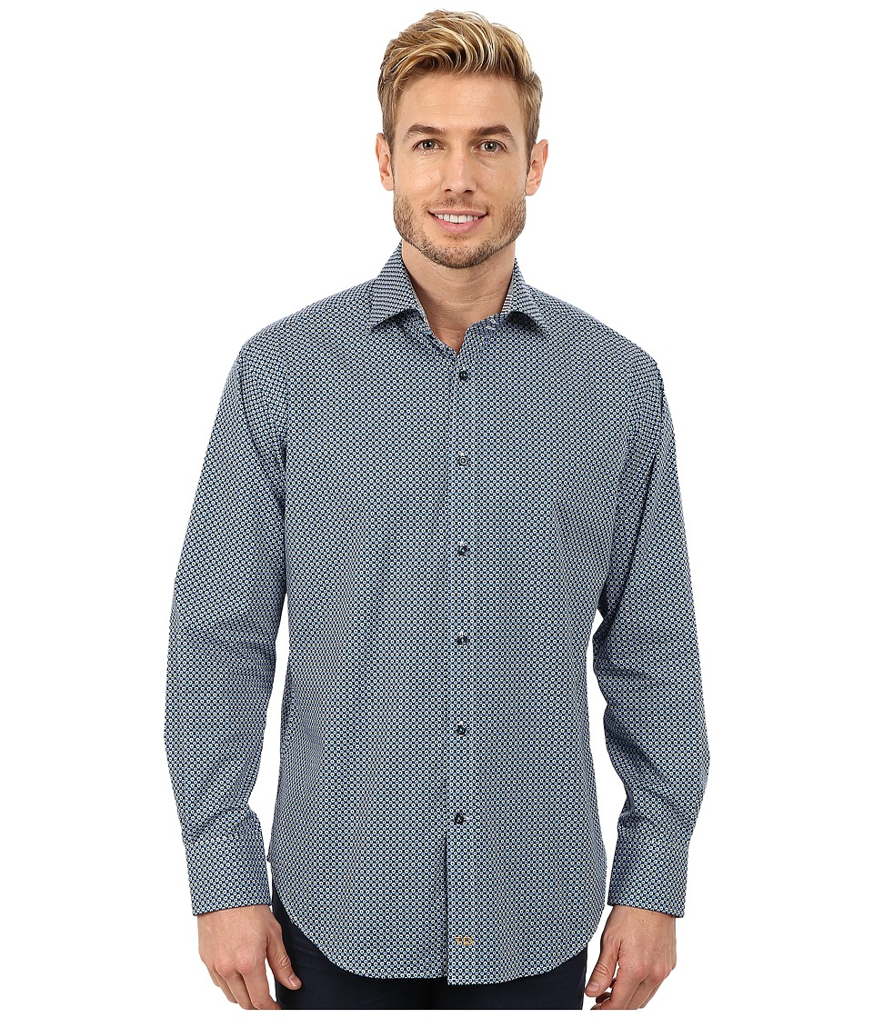 Thomas Dean & Co. - Long Sleeve Woven Geometric Print (Blue) Men's Long Sleeve Button Up