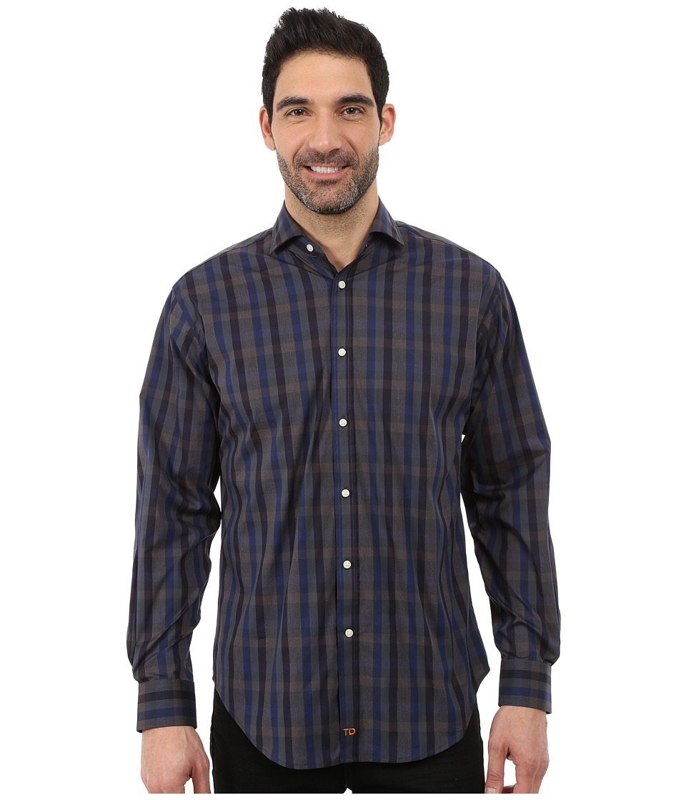 Thomas Dean & Co. - Long Sleeve Woven Modern Plaid (Purple) Men's Long Sleeve Button Up