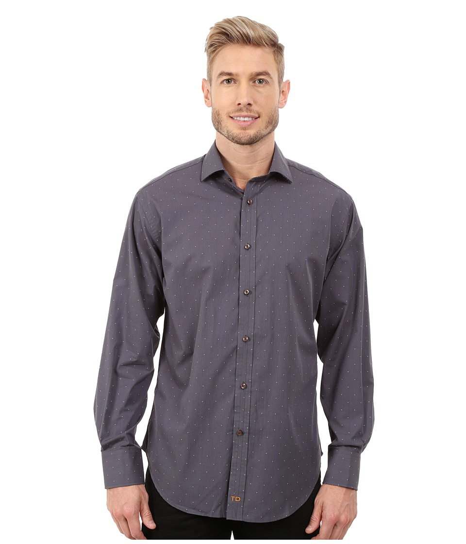 Thomas Dean & Co. - Long Sleeve Woven Mini Check w/ Dobby (Brown) Men's Long Sleeve Button Up