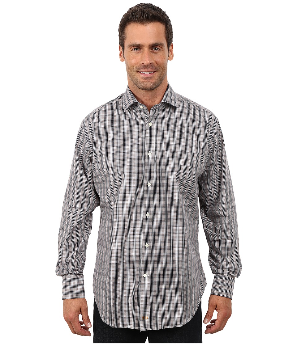 Thomas Dean & Co. - Long Sleeve Woven Windowpane Plaid (Brown) Men's Long Sleeve Button Up