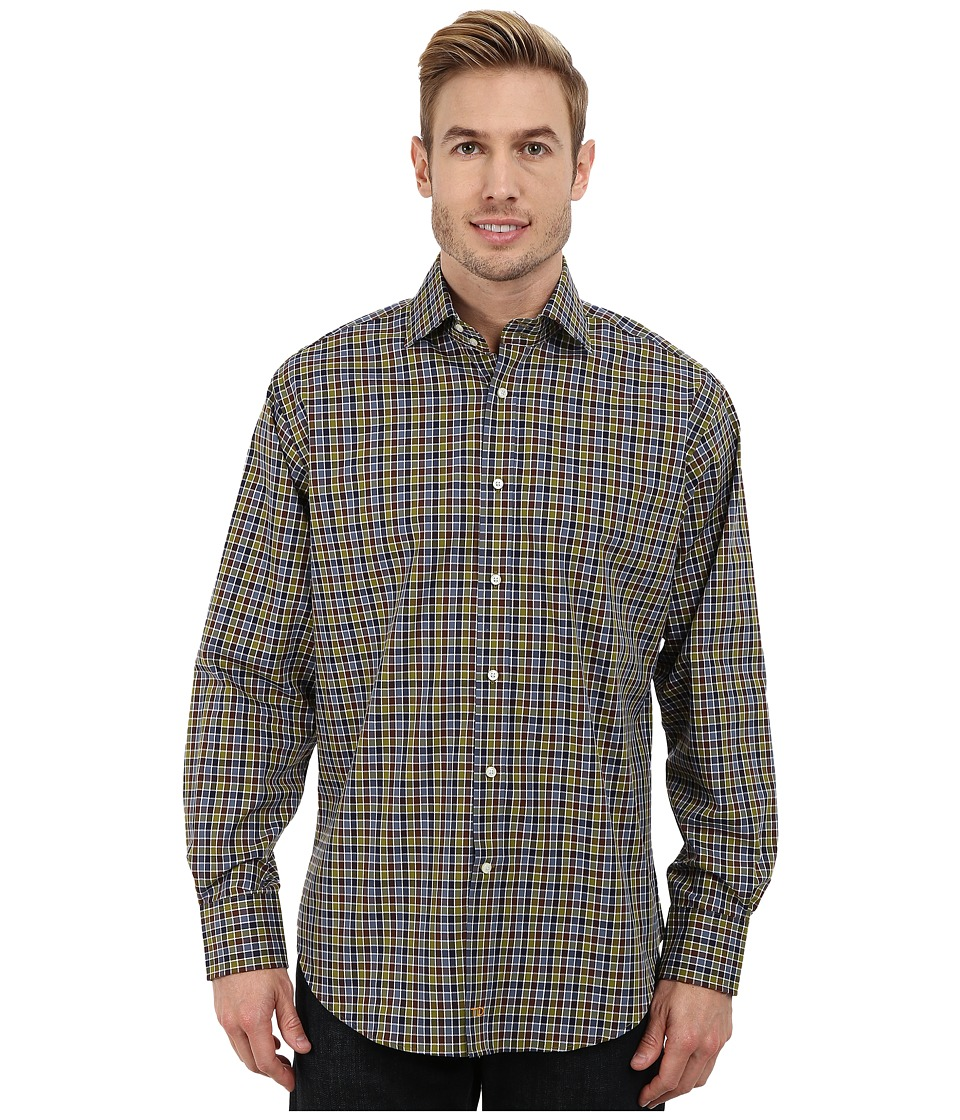 Thomas Dean & Co. - Long Sleeve Woven Jacquard Check (Olive) Men's Long Sleeve Button Up