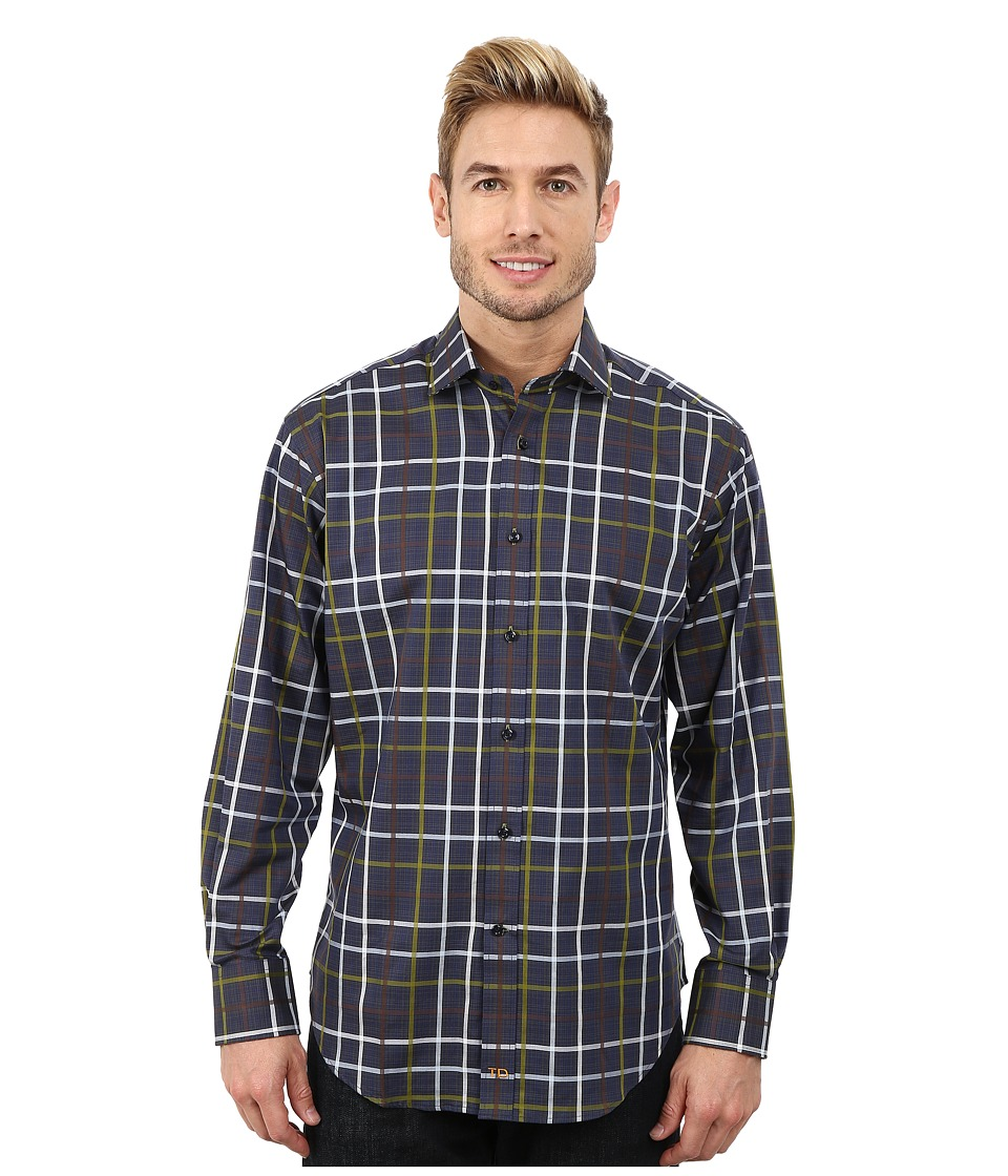 Thomas Dean & Co. - Long Sleeve Woven Graphic Plaid (Navy) Men's Long Sleeve Button Up