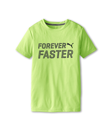 Puma Kids - Short Sleeve Forever Faster Tee (Big Kids) (Acid Yellow) Boy