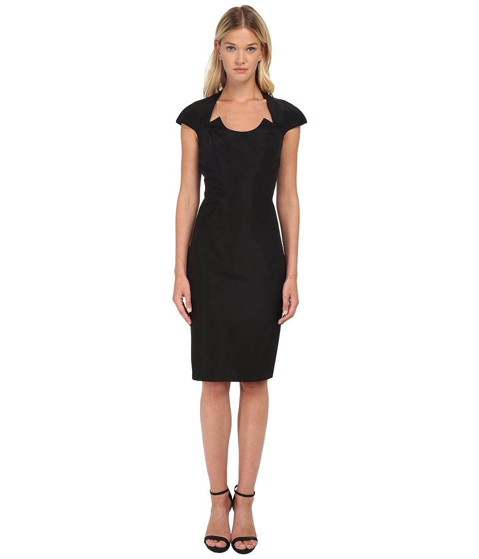 Zac Posen - Fitted Dress with U-Neckline Cutout and Cap Sleeves (Black) Women's Dress