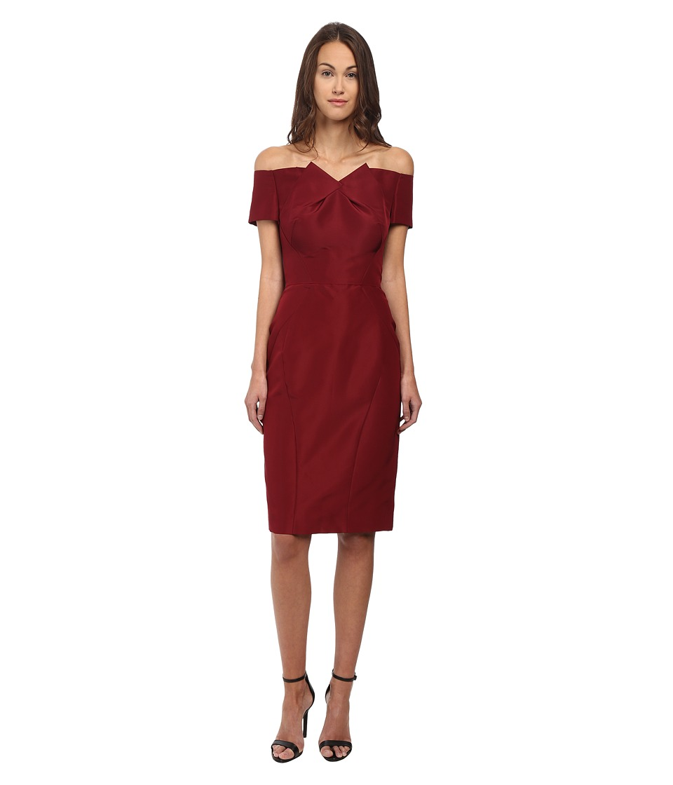 Zac Posen - Off The Shoulder Dress with Front Pleat (Burgundy) Women's Dress