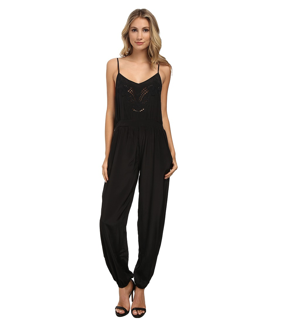 Angie - Solid Strappy Jumpsuit (Black) Women's Jumpsuit & Rompers One Piece