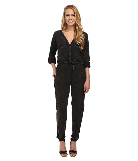 Angie - Solid 3/4 Sleeve Jumpsuit (Black) Women's Jumpsuit & Rompers One Piece