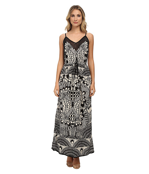 Angie - Printed Strappy Maxi Dress (Black) Women's Dress