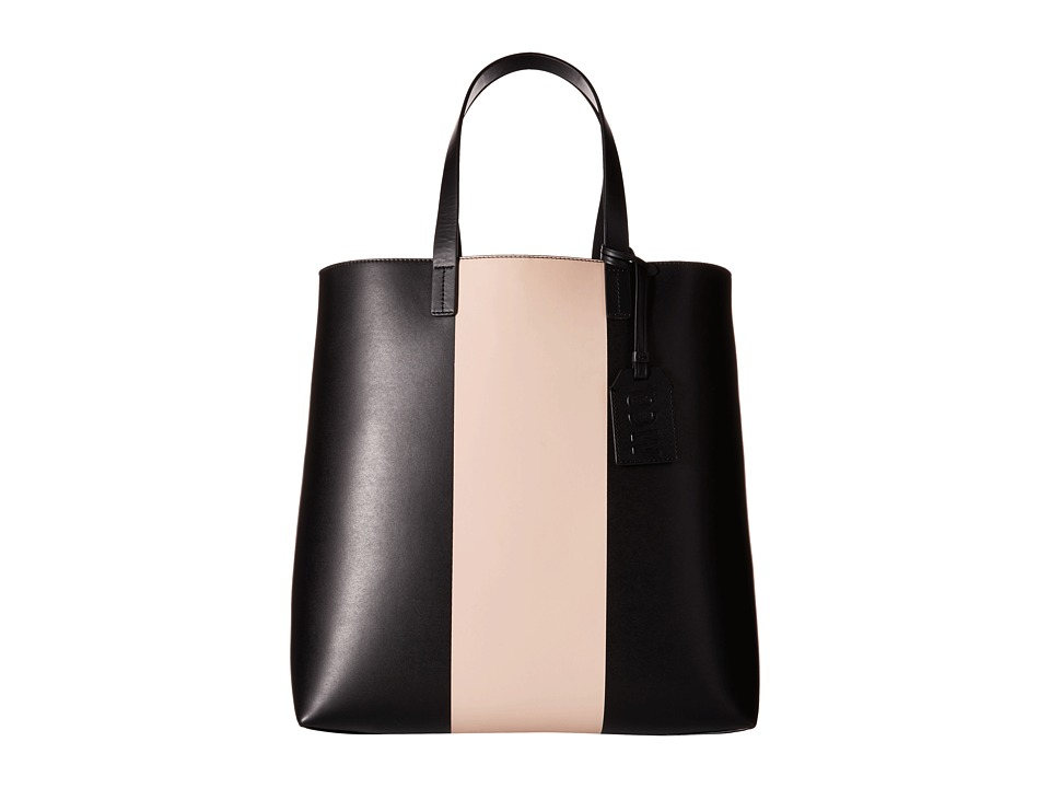 McQ - Void Tote Bag (Black/Blush Printed PU) Tote Handbags