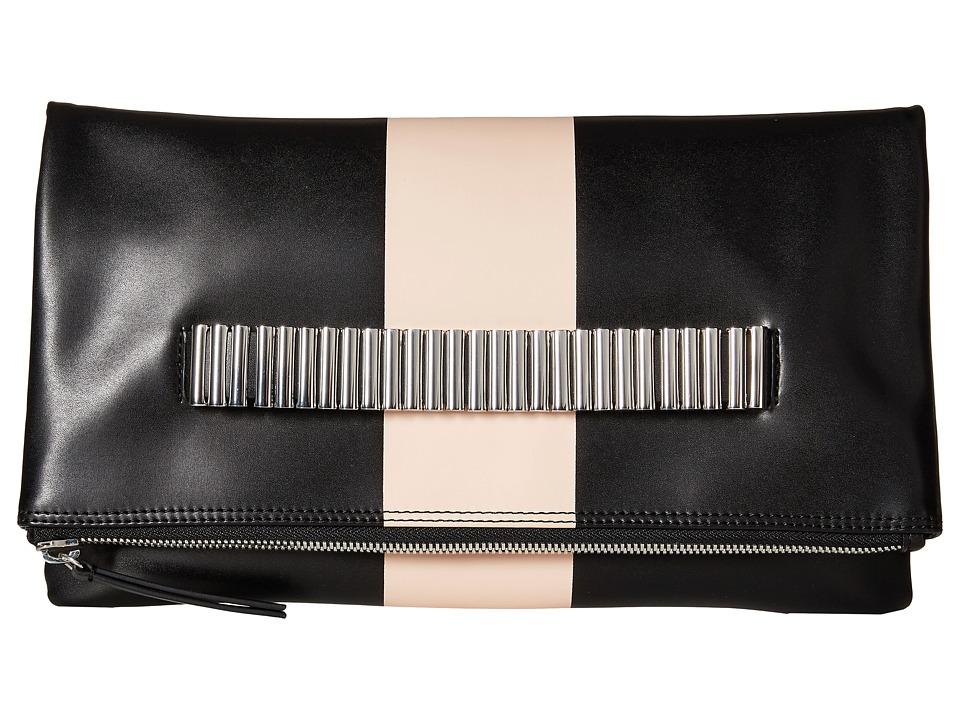 McQ - Lo Fi Fold Clutch (Black/Blush Printed PU) Clutch Handbags