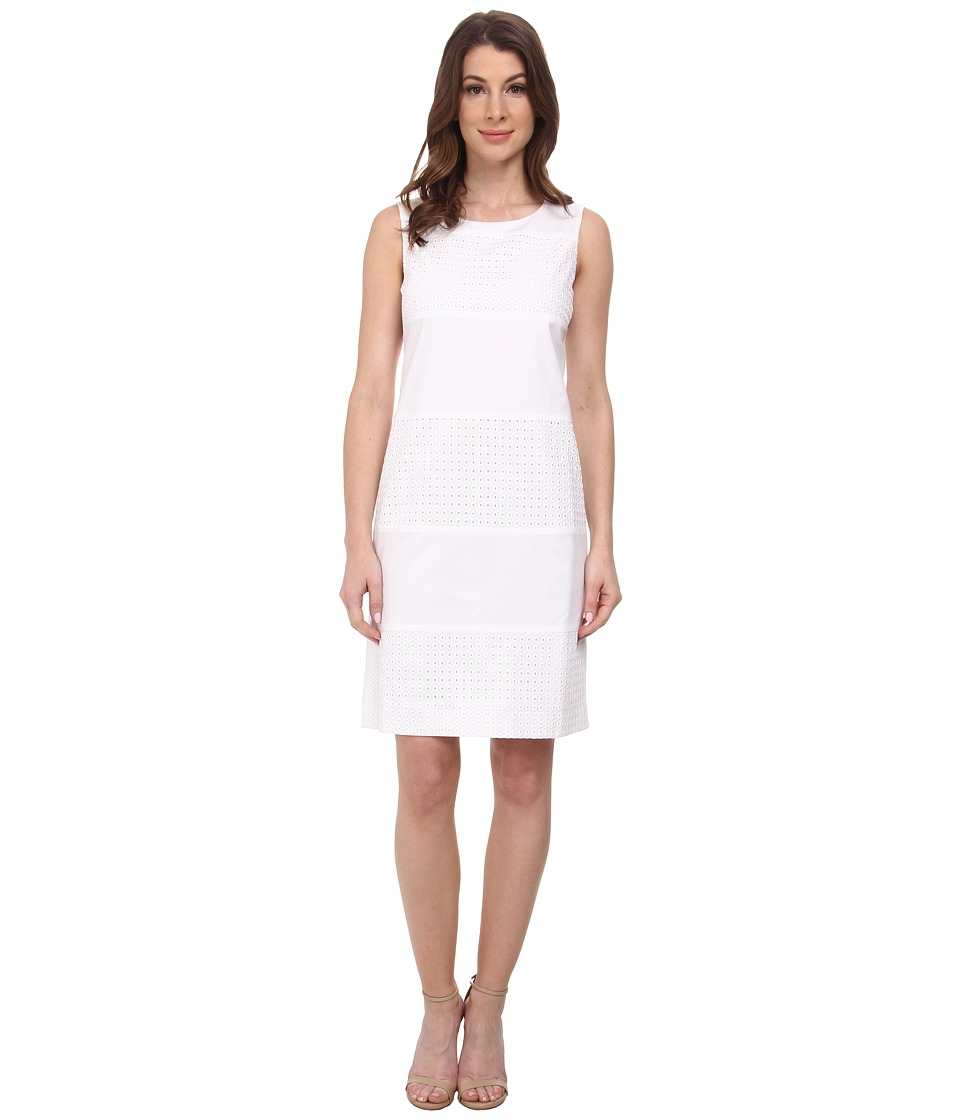 Anne Klein - Eyelet/Cotton Combo Shift Dress (Optic White) Women