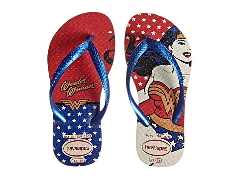 Havaianas Kids - Wonder Woman Flip Flops (Toddler/Little Kid/Big Kid) (White/Marine Blue) Girls Shoes