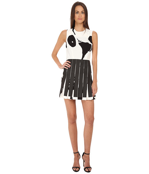 McQ - Mini Pleated Dress (Black/White Tape Pleats) Women's Dress