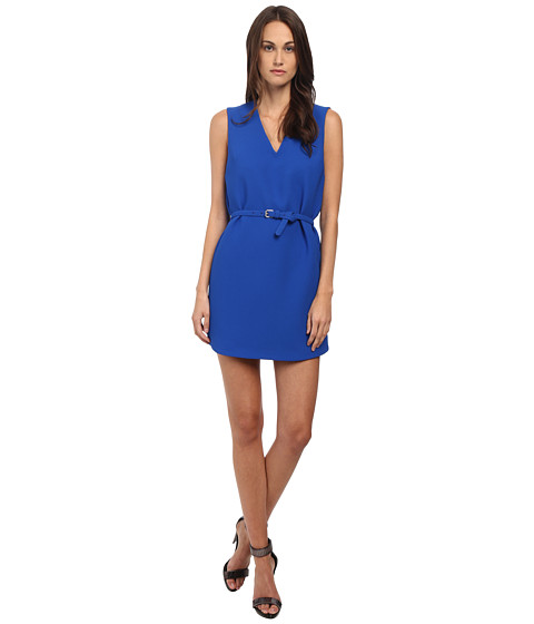 McQ - V-Neck Shift Dress (Klein Blue Heavy Crepe) Women