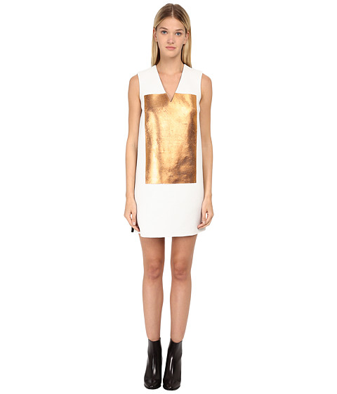 McQ - V-Neck Shift Dress (White Sequin/Copper) Women's Dress