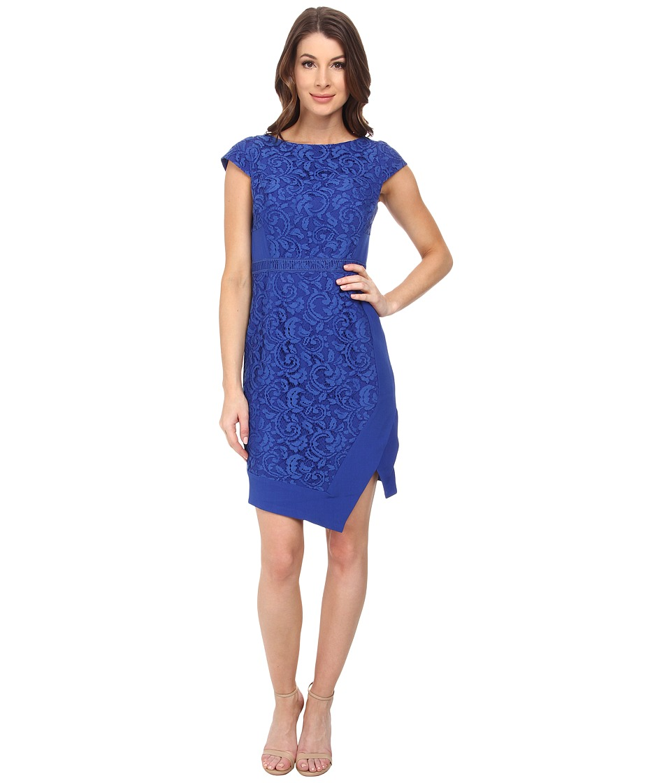 Adrianna Papell - Mixed Media Cap Sleeve Crepe and Lace Dress (Ocean) Women