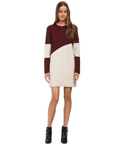 McQ - Crew Neck Knit Top (Snow/Oxblood/Black Colourblock) Women