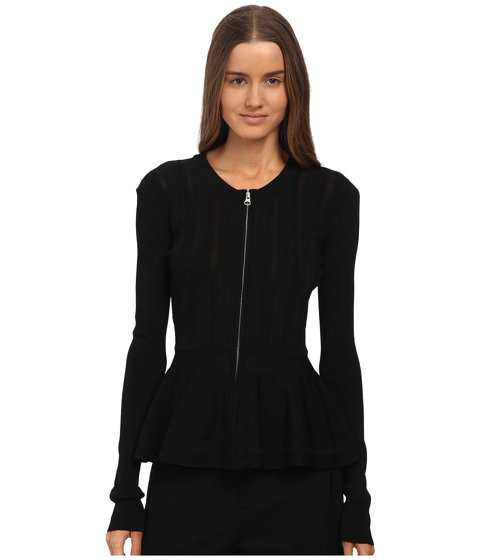 McQ - Fine Gauge Ripple Long Sleeve Shirt (Darkest Black) Women's Long Sleeve Button Up